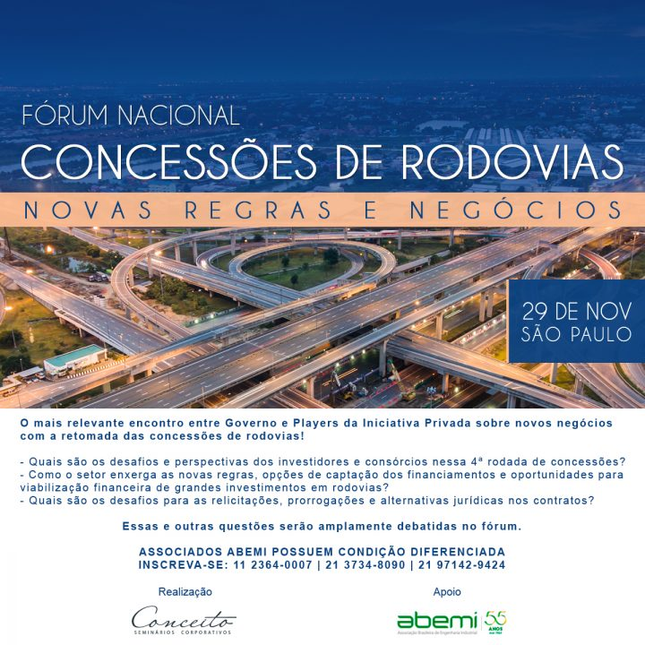 ABEMI apóia Fórum Nacional de Concessões de Rodovias para debater novas regras e negócios