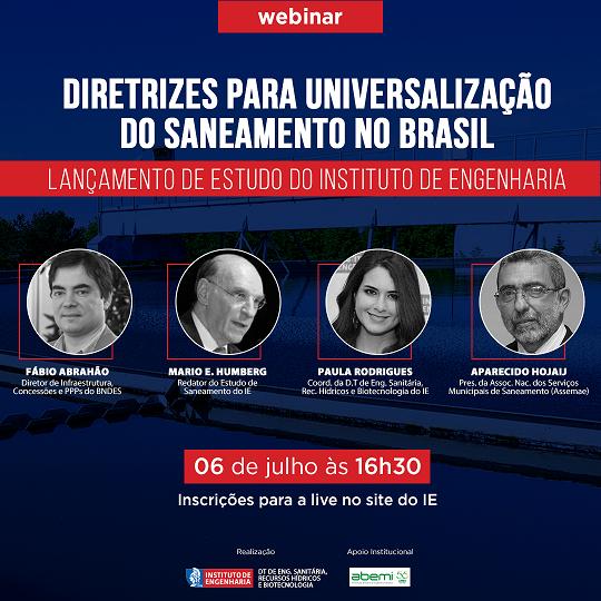 ABEMI apóia webinar do Instituto de Engenharia sobre Universalização do Saneamento no Brasil